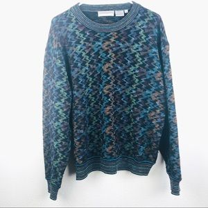 Vintage | 1990s Style Wool Printed Grandpa Sweater